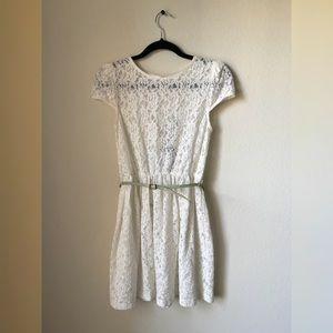 Zara Sheer Lace Dress w Pastel Green Belt